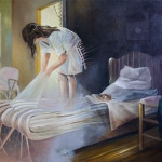 Frau, die den Morgen sucht